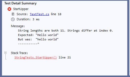 The Visual Studio Test Explorer summary window showing a failed test