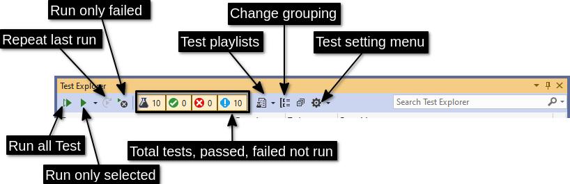 Visual Studio Test Explorer toolbar