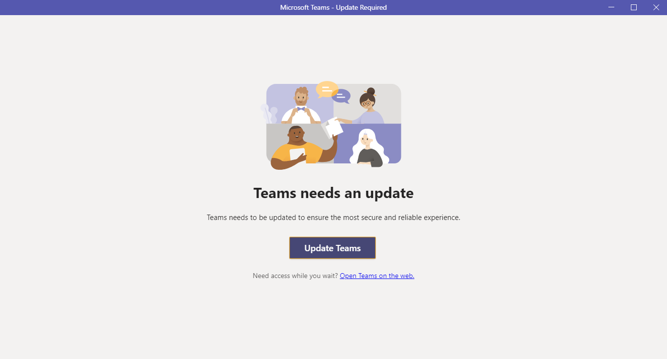 Teams asking for an update