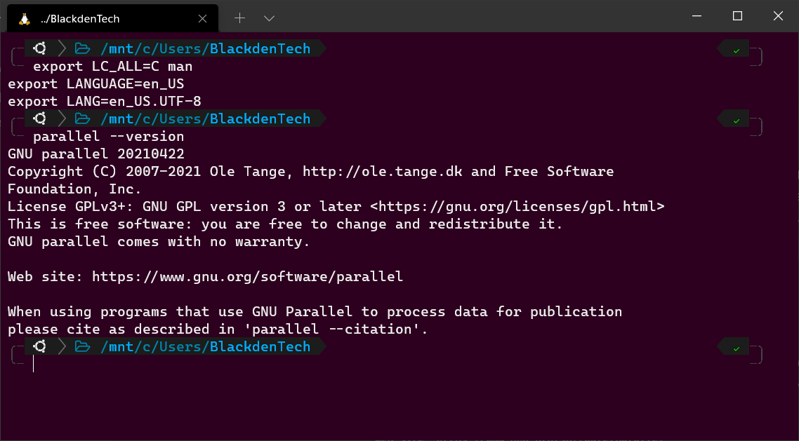 Setting locale and language for GNU Parallel