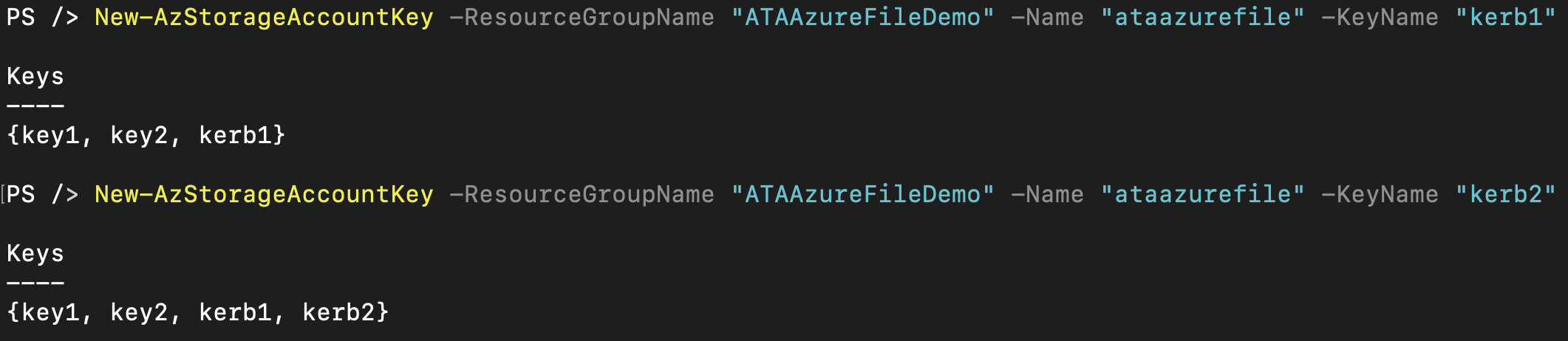 Creating Azure storage account keys
