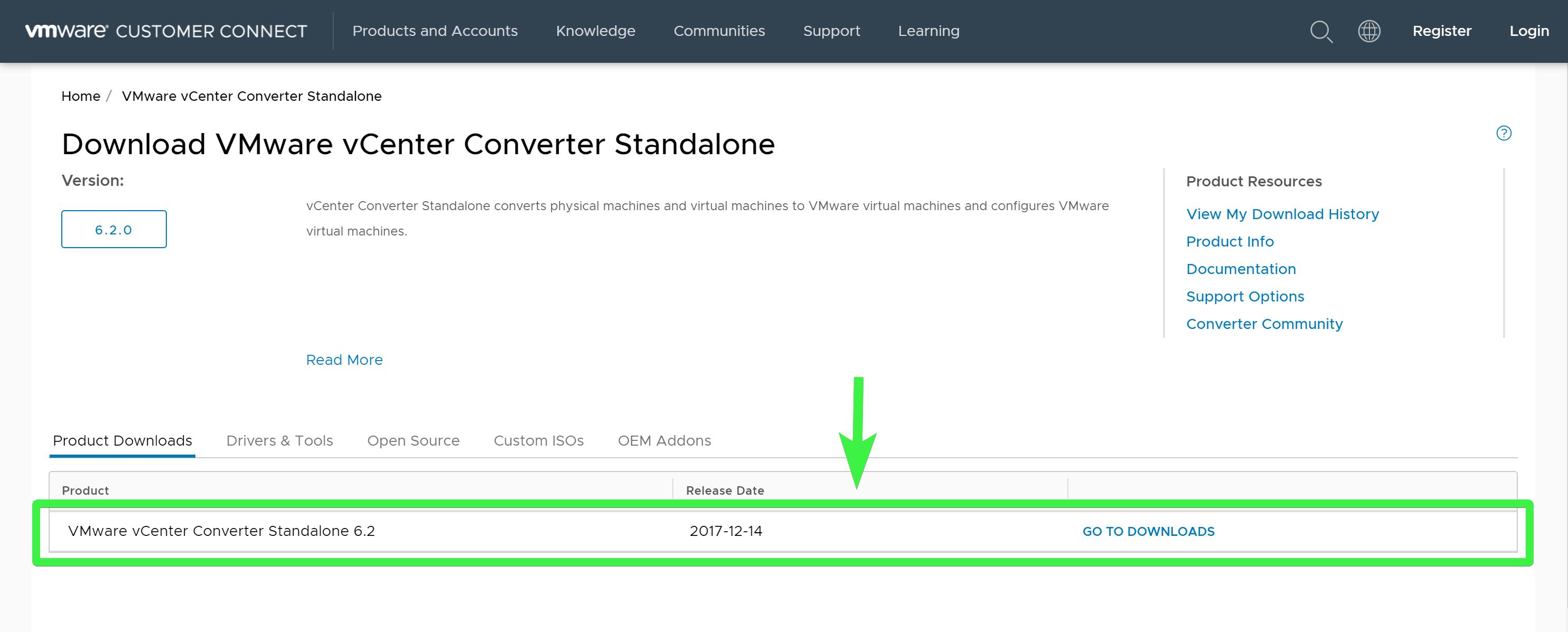 Downloading vCenter Converter