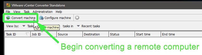 VMware vCenter Converter - Convert machine option