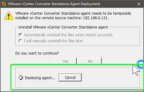 Deploying vCenter Converter agent
