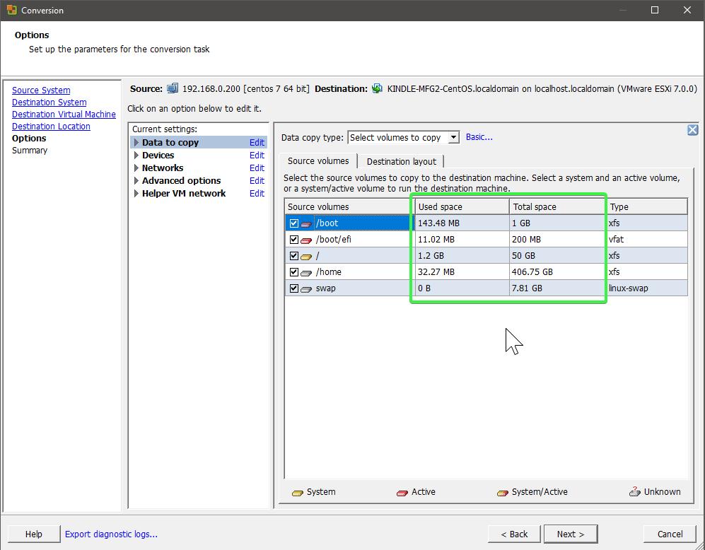 Advanced Conversion Options - Disks