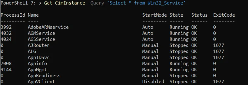 Getting Windows Services using WMI Query