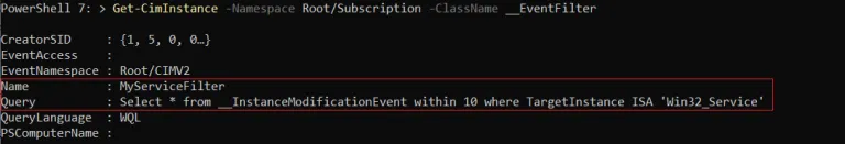 Event Filter Created Successfully and registered the Windows WMI Query