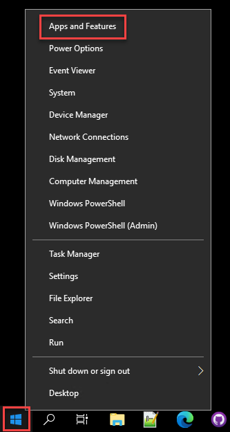 Opening the Apps & features window