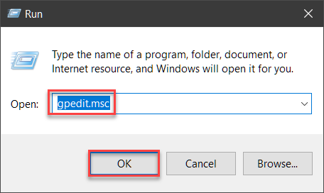 Opening the group policy editor
