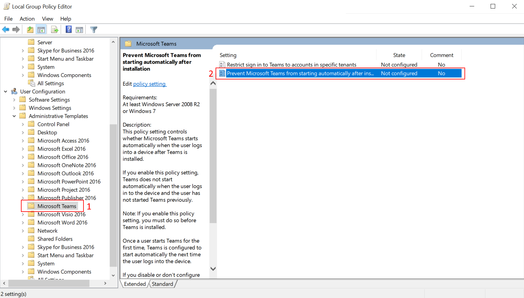 Choosing the option in group policy