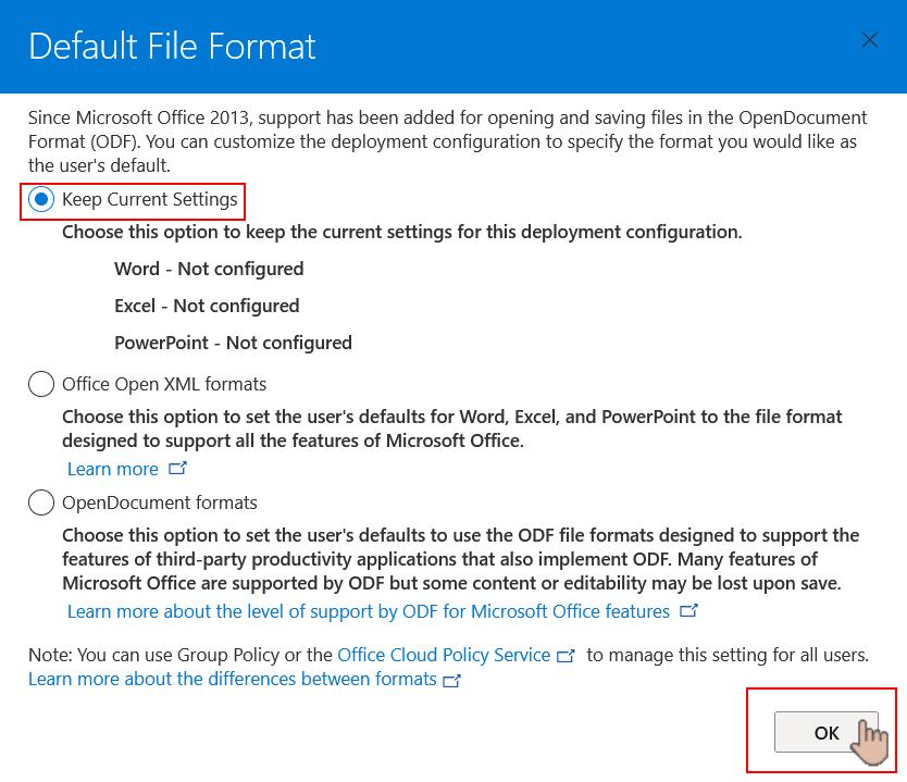 Choosing the default file format