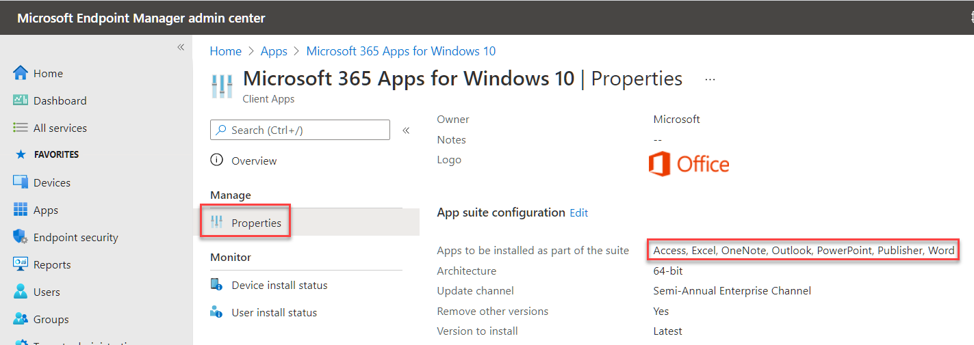 Viewing the Microsoft 365 Apps settings in Intune