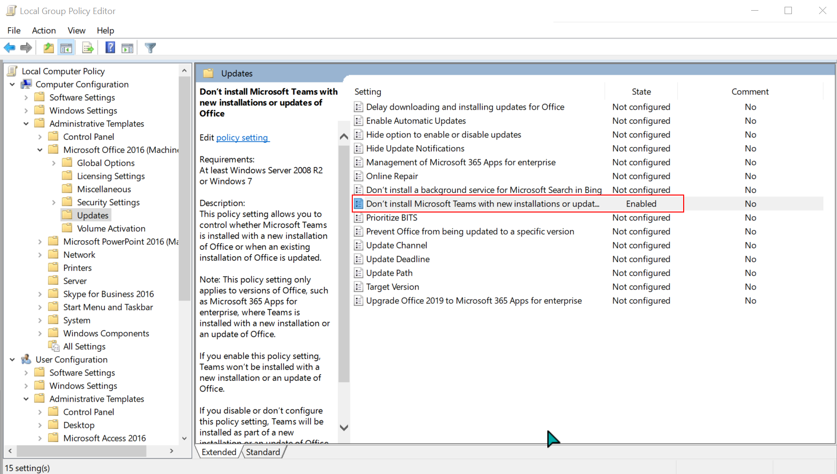 Desired group policy setting