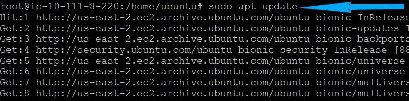 Updating the package repositories on the Ubuntu machine