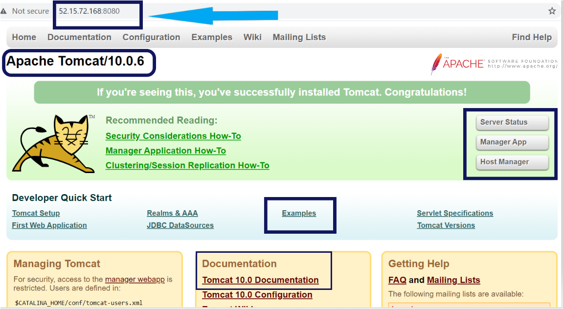 Accessing Apache Tomcat from a web browser.