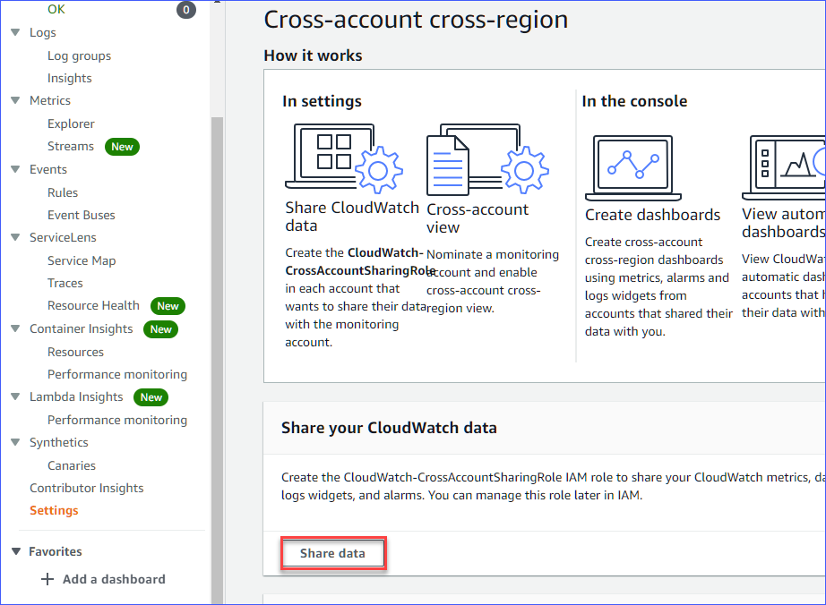 Opening Share your CloudWatch data settings