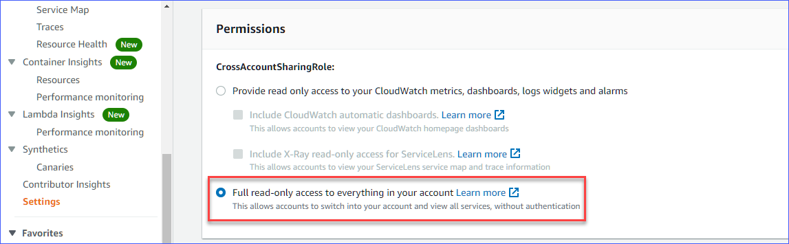 Assigning permission to the monitoring account
