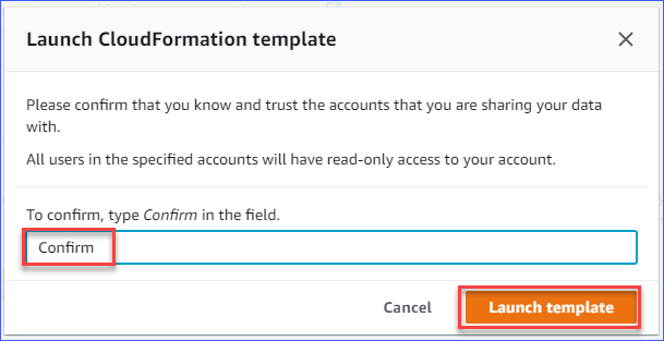 Confirming to launch the CloudFormation template