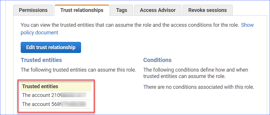 The updated trust relationship for the CloudWatch-CrossAccountSharingRole IAM role