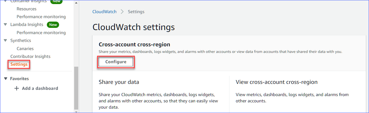 Opening Cross-account cross-region settings on the AWS monitoring account