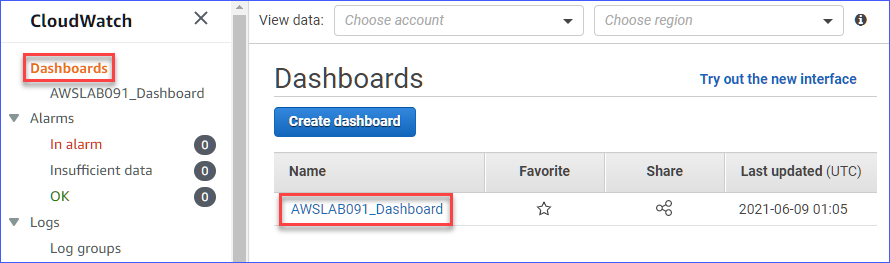 Opening the monitoring account's CloudWatch dashboard