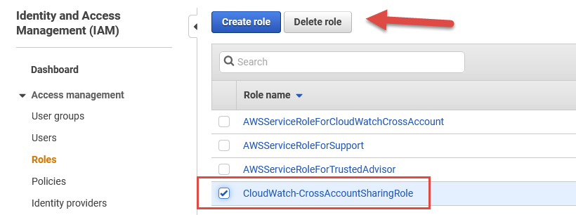 Selecting the CloudWatch-CrossAccountSharingRole IAM role