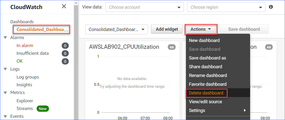 Deleting the consolidated dashboard