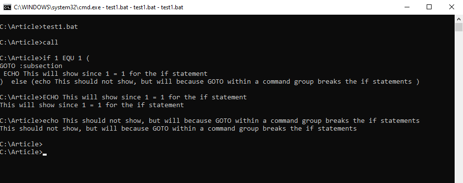 Demonstrating how a command group with a GOTO statement breaks an if statement
