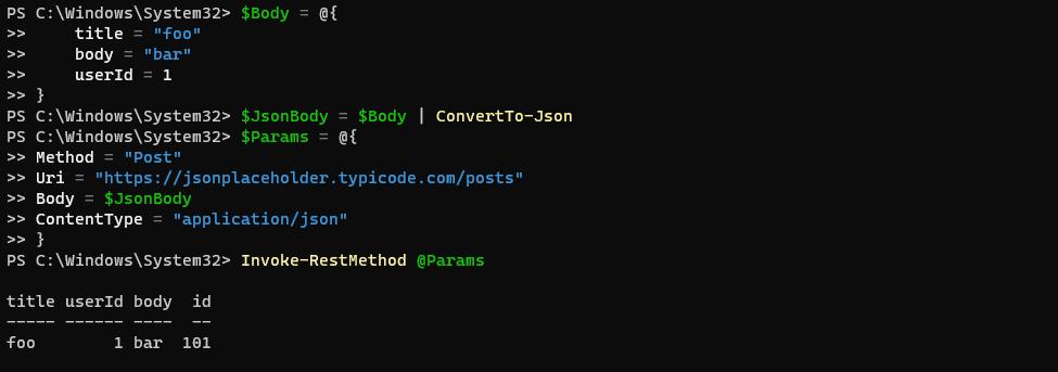 Sending a JSON POST with Invoke-RestMethod