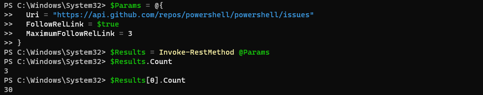 Output showing the nested arrays returned by the FollowRelLink parameter.