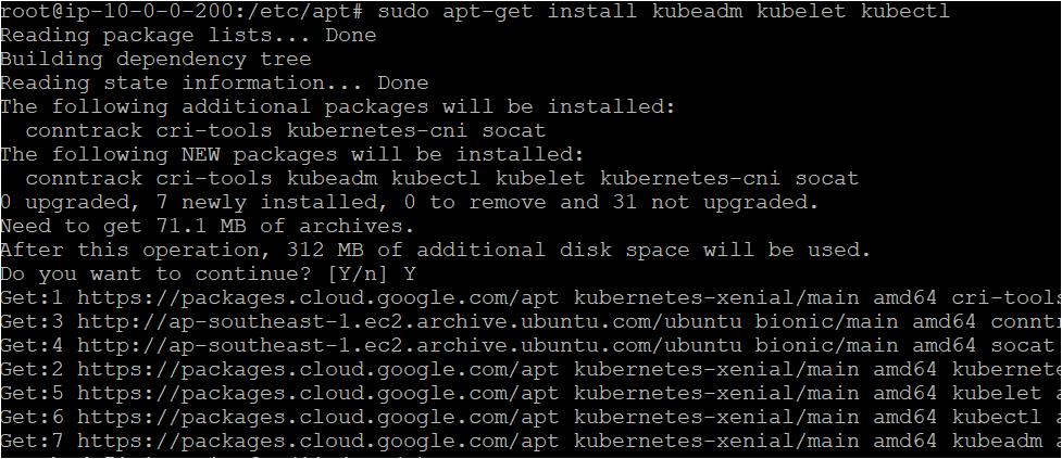 Installing the kubeadm kubelet kubectl package/tool on each ubuntu machine