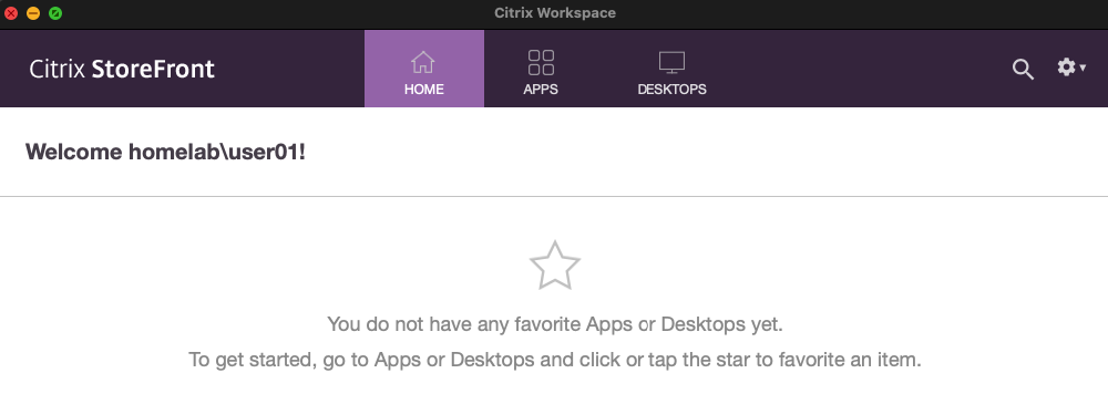 Login and displaying Apps and Desktops tabs in Workspace app