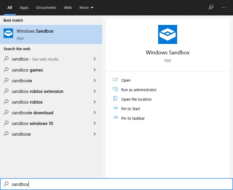 Opening Windows Sandbox via Start Menu