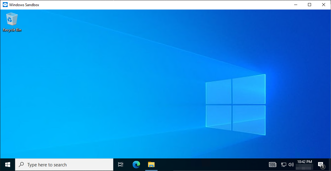 Opening Windows Sandbox for the first time