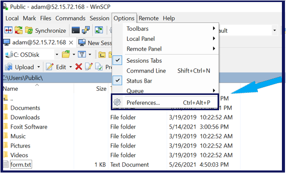 Opening the WinSCP Preferences menu