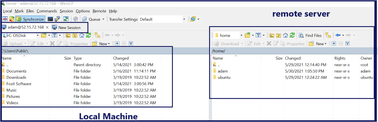 Connected WinSCP session