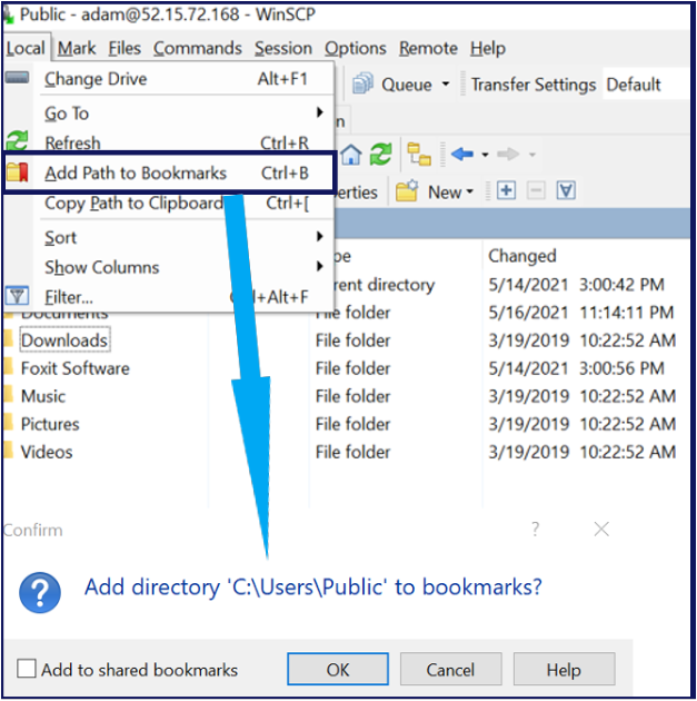 Bookmarking paths in WinSCP