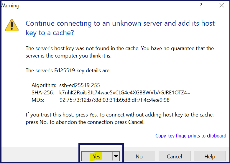 Prompt for Host Key to a Cache