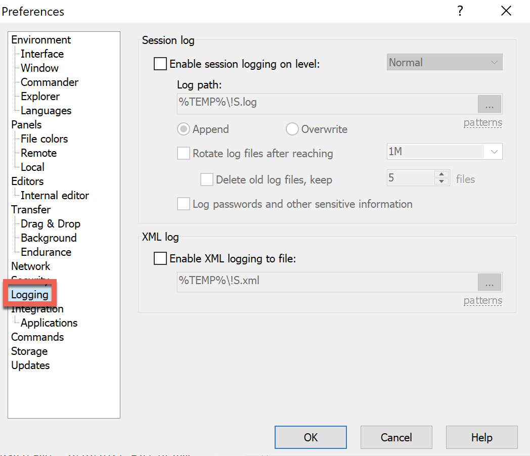 WinSCP session logging options