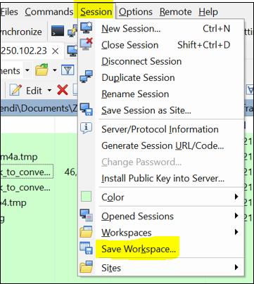 Saving a Workspace