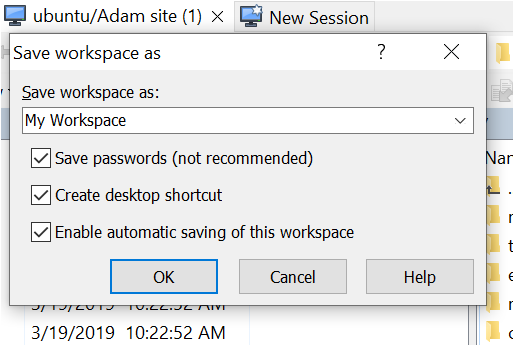 automatic saving of this workspace