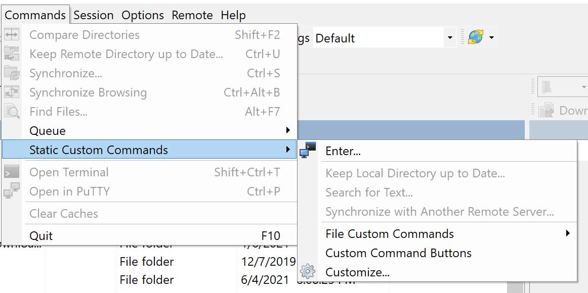 Navigating to custom command