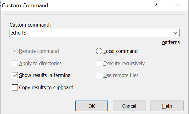 Custom command windows