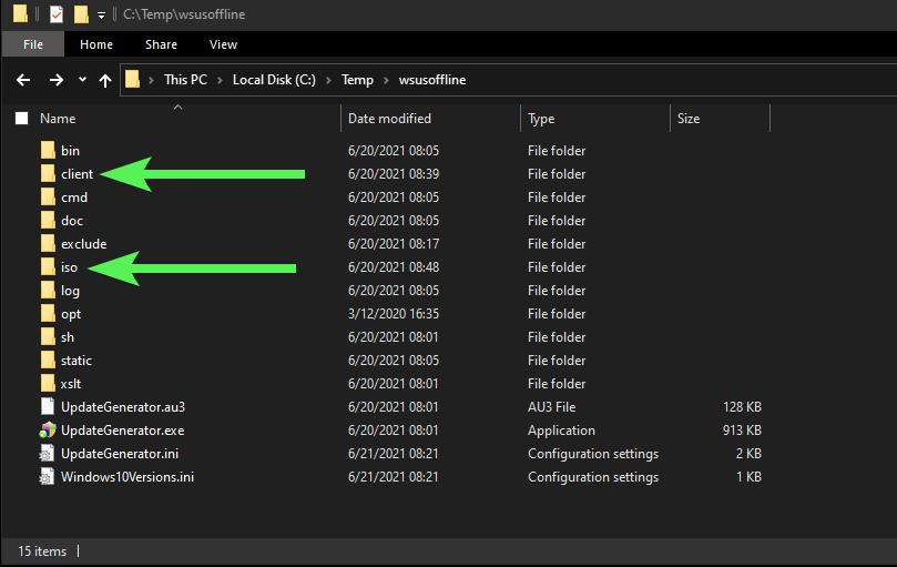 WSUS Offline Updater directory structure
