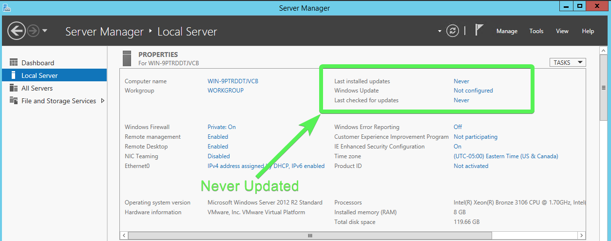 Never Updated Offline Windows 2012 R2 Server