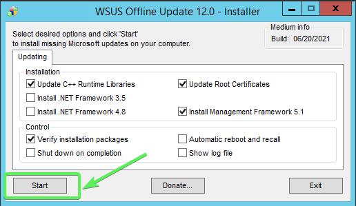 Running Offline Update Installer