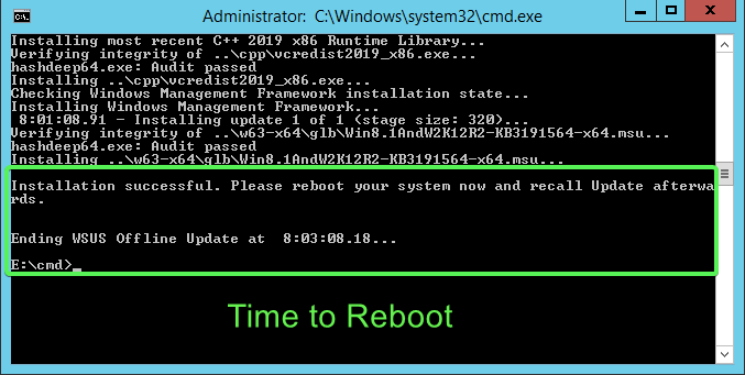 Time to reboot to complete installation