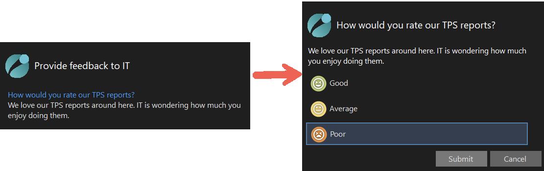 Displaying a survey