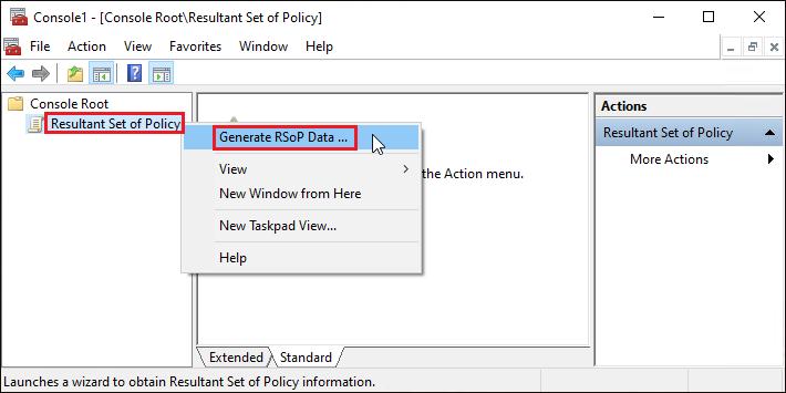 Generate RSoP Data option