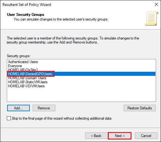 Displaying User Security Groups